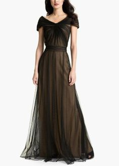 Gorgeous for the next event | Portrait Collar Pleated Mesh Gown