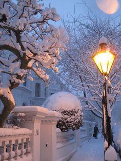 Snowy Night, London, England