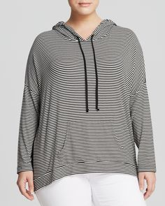 Karen Kane Plus Size Fashion Contrast Back Black and White Stripe Hoodie available from Bloomingdale's #Black_and_White #Stripes #Sporty #Contrast #Color #Hoodie #Plus #Size #Workout #Clothing #Activewear #Fashion #Bloomingdales