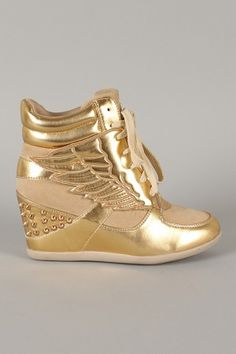 Liliana Sue-12 Metallic Angle Wing Lace Up High Top Wedge Sneaker
