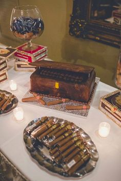 Wedding Cigar Bar and Groom's Cake Table! Cigar And Whiskey Party, Cigar Bar Wedding, Cigar Party, Boat Wedding, Table Wedding, Wedding Cakes, Wedding Ideas, 50th Birthday Party Ideas For Men, 50th Party