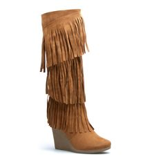 Three layers of funky fringe adorn Mikayla, a lavish knee-high boot with a chunky wedge and plenty of poise.  $44.95
