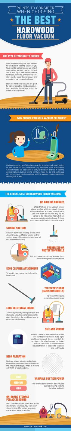 http://vacuumseek.com/best-vacuum-for-hardwood-floors/ Finding the right vacuum for hardwood floors can be tricky, this infographic will show you how to choose an effective and safe vacuum for cleaning hard floors.