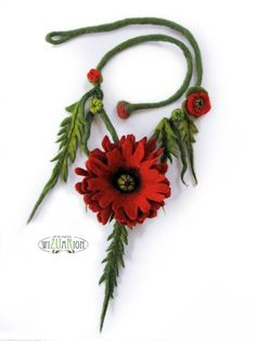 Poppy flower necklace