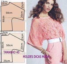 Passo a passo molde de blusa. Blusa enriquecida com bordados e aplicação de flores. Medidas para o tamanho 40.