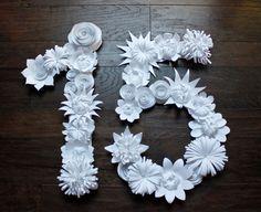 Paper Flower Handmade Paper Flower Number Wedding от balushka, $255.00