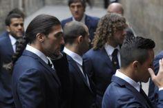 Algunos jugadores a su llegada a la Catedral
