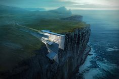Taking views to a whole new level, this fictional Icelandic retreat is constructed out of what seems to be concrete, metal and glass.