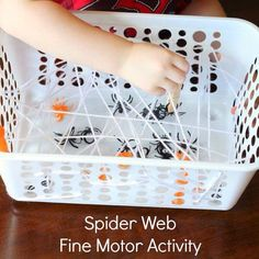 Spider web fine motor activity - weave white yarn through holes in a plastic container. Children use tweezers or clothespins to try and get the spider rings out halloween games Spider Web Fine Motor Activity Preschool Halloween Party, Theme Halloween, Fall Preschool, Preschool Crafts, Halloween Crafts, Toddler Halloween Games, Homemade Halloween, Halloween Halloween, Halloween Decorations