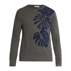 Valentino Palm leaf-intarsia cashmere sweater ($1,350) ❤ liked on Polyvore featuring men's fashion, men's clothing, men's sweaters, mens crewneck sweaters, mens cashmere sweaters, mens grey sweater, mens gray sweater and mens slim fit sweater
