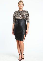 Black Leopard Leather Zip Up Dress (Plus Size)