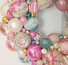 Image of Pink and Perfection Vintage Shiny  Brite Ornament Wreath