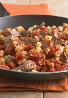 This Beef and Potato Skillet recipe is a delicious and easy weeknight dinner recipe! Pin for later!