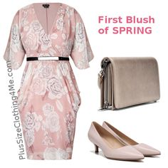 First Blush Of Spring. Kimono sleeve plus size dress with a soft floral print in pastel colors. This all spring dress is complemented by soft pink leather pumps and a matching purse.  #SpringOutfit #special #SpecialOccasion #PlusSize #PlusSIzeDress