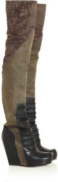 Rick Owens Ribbedfront Brushedleather Overtheknee Wedge Boots in Brown (black)