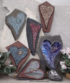 Mosaic Hearts Wall Decor | Garden or wall accents on stone. … | Flickr