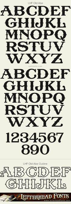 Letterhead Fonts / LHF Old Abe font set / Antique Fonts