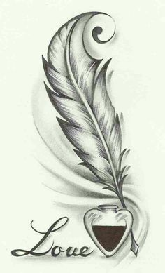 Feather drawing, feather tattoo design и tattoo drawings. Pencil Art Drawings, Easy Drawings, Drawing Sketches, Tattoo Drawings, Body Art Tattoos, Sketch Art, Drawing Ideas, Drawings About Love, Pencil Art Love
