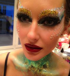 The little Mermaid inspired makeup look using glitter and gems.  Creative Makeup by Karla Powell