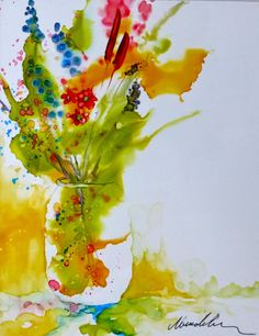 How to paint with alcohol inks, by wendy videlock: learn to paint with alco Alcohol Ink Crafts, Alcohol Ink Painting, Alcohol Ink Art, Watercolor Flowers, Watercolor Paintings, Ink Paintings, Watercolors, Easy Watercolor, Sharpies