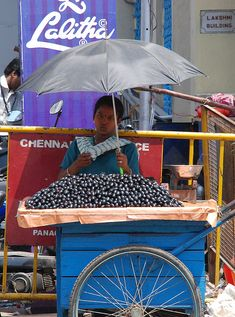 A Jamun Fruit Seller at Chennai in T Nagar in front of Lalitha Jewellery shop at Panagal Park.