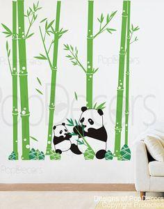 Pandas love Bamboo (79 tall ) -  Children Baby Kid Boy Girl Playroom via Etsy