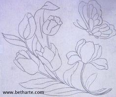 Pincel que brilha : Riscos de flores
