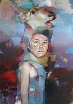 http://www.boumbang.com/pascal-vilcollet-paintings/ © Pascal Vilcollet, Série Teddy Box, mixed media on canvas, 160x114 cm