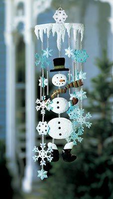 Winter Snowman Holiday Garden Wind Chimes . . .