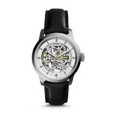 Townsman Automatic Black Leather Watch A top-of-the-hour essential—the Townsman automatic takes its cues from vintage designs with up-to-the-minute innovation. A refined silver-tone case houses a see-through skeleton dial and precise mechanics.