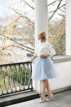 Autumn Winter//White Jumper, Powder Blue Tulle Skirt, Stillettos