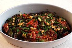 Fried Eggplant Recipe with Green Peppers and Tomatos - Turkish Inspired Vegetable Side Dishes, Vegetable Recipes, Indian Food Recipes, Healthy Recipes, Ethnic Recipes, Stewed Squash, Fried Eggplant Recipes, Green Pepper Recipes, Fried Peppers