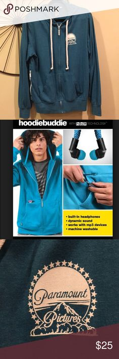 NWOT Genuine Paramount Pictures Hoodie Buddie Super soft hoodie purchased from the Paramount Pictures Studio Store. Built in headphones, works with MP3 devices. Machine washable. Never worn. Hoodiebuddie Shirts Sweatshirts & Hoodies