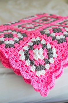 Pink,White and Grey Baby Blanket/ Afghan by Mandyssewingroom on Etsy