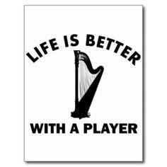 Cool Harp Design Postcards