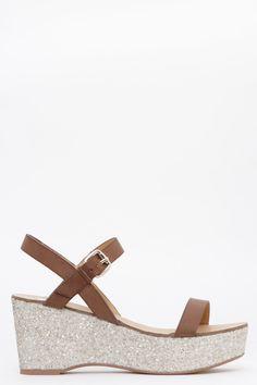 Sandalias con cuña de glitter marron de Exe - 78.90€ | EAT