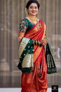 Take inspirations from these top Maharashtrian bridal looks for your marathi wedding. Marathi bride photos and nauvari saree wedding look on ShaadiWish. Indian Bridal Photos, Indian Bridal Sarees, Indian Bridal Outfits, Indian Bridal Fashion, Indian Beauty Saree, Bridal Lehenga, Saree Wedding, Bridal Gown, Bridal Mehndi