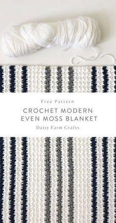 Free Pattern - Crochet Modern Even Moss Blanket #crochet