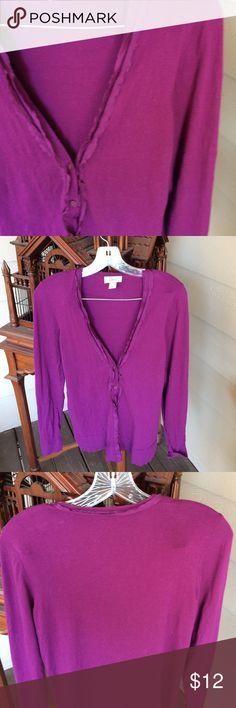 Loft purple cardi in M.  All cotton.  Ex con. 😘 Loft purple all cotton cardigan, with ruffle detail.  Size medium.  Ex condition. 😘 Loft Sweaters Cardigans