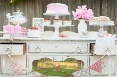 Vintage Rose Tea Party - I love the shabby white desk as a serving piece. KarasPartyIdeas.com #Garden #TeaParty #Party