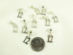 Number 12 12th Man charms Silver with bails Lot of 10