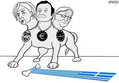 Cerbère / Rainer Hachfeld - Neues Deutschland, Germany - Cerberus - English - Cerberus the threeheaded dog Christine Lagarde, Mario Draghi, Jean-Claude Juncker bone with Greek flag