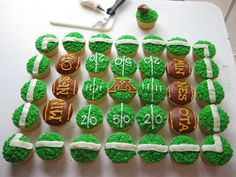 Football Cupcakes The Effective Pictures We Offer You About Football Cake man city A quality picture can tell you many things. You can find t Football Cupcakes, Cupcakes For Boys, Cute Cupcakes, Football Food, Birthday Cupcakes, Cupcake Cookies, Football Recipes, Raiders Football, Football Birthday