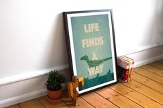 Jurassic Park Poster - Life Finds A Way - Ian Malcolm - Velociraptor Minimalist Style Print - (Available In Many Sizes) by HarknettPrints on Etsy https://www.etsy.com/listing/236813055/jurassic-park-poster-life-finds-a-way