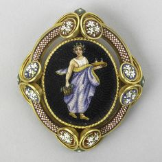 ROMAN GOLD MICROMOSAIC BROOCH; Depicts Persephone bearing a tray of pomegranates on a black ground framed by red and white checkered and floral ornaments, ca. 1850, via Rago Art Auction