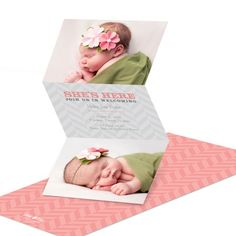 She's here! Your baby girl has finally arrived, so share the joyous news with charming style. These trifold birth announcements have spots for two favorite photos, and open accordion-style to reveal the important details on the center panel against a soft gray chevron pattern.