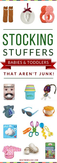Best Stocking Stuffers For Babies and Toddlers Age 0-3 | Unique & Fun Gift Ideas For Your Kids' Stockings | Get the full list of over 200 creative gift ideas for kids of all ages and stages from babies to teens at whatmomslove.com