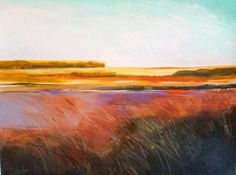 Bronze Marsh, large, abstract landscape by Carol Engles -- Carol Engles