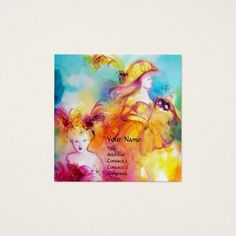 RONDO IN LAGOON  Performing Arts ,Costume Designer Square Business Card #beauty #fashion #woman #masquerade #fineart