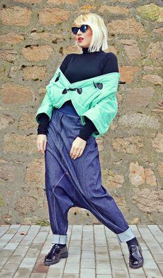 Blue Drop Crotch Pants / Extravagant Blue Jeans / Drop Crotch Pants / Denim Loose Pants / Denim Drop Crotch Extravagant Pants TP26 JAZZ UP!